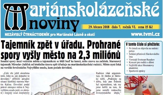 Mariánskolázeňské noviny 7/2018