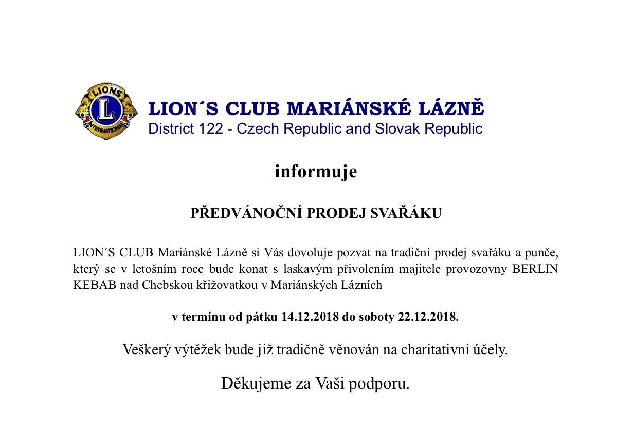PŘEDVÁNOČNÍ PRODEJ SVAŘÁKU: LION ́S CLUB MARIÁNSKÉ LÁZNĚ