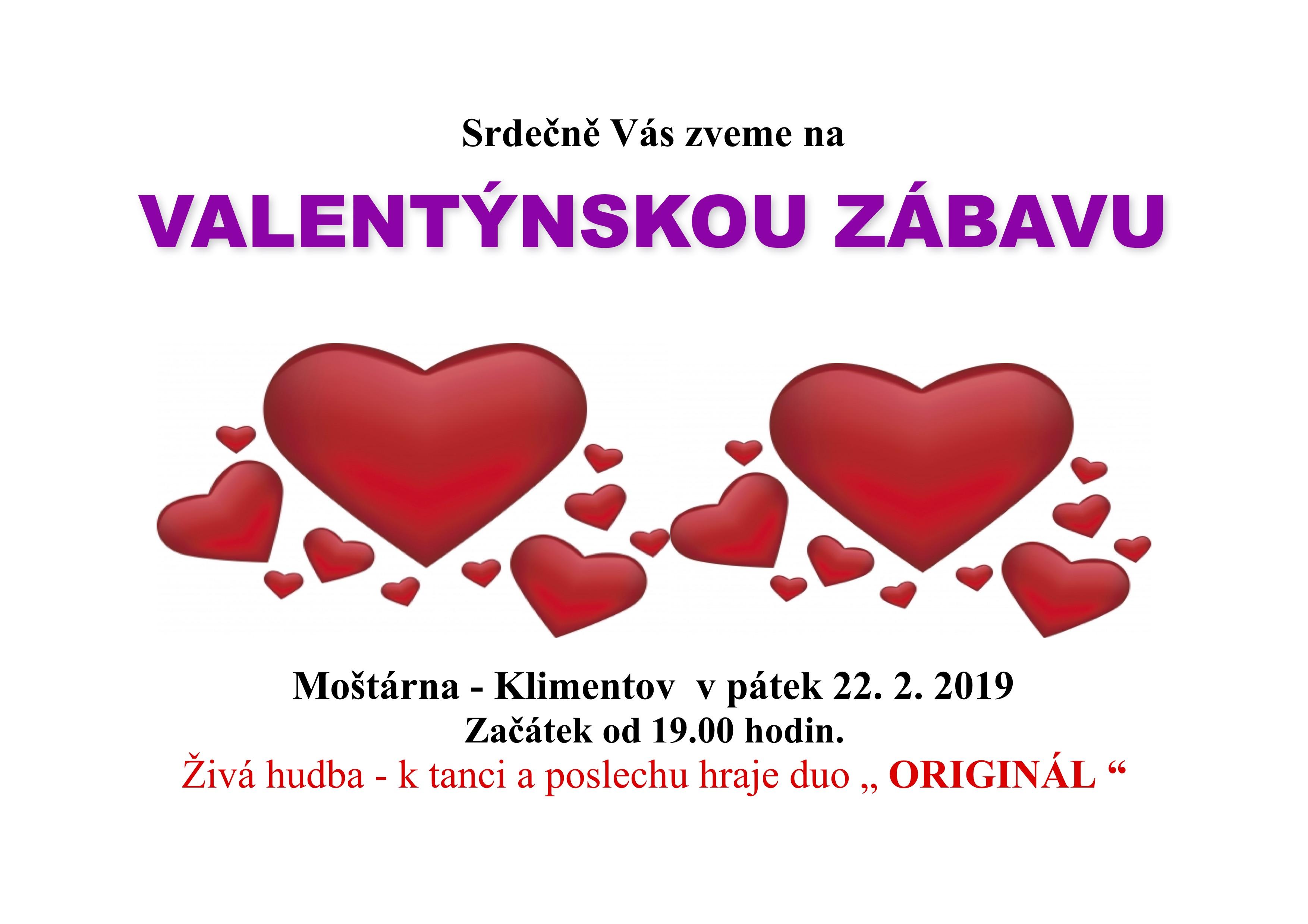 Pozvánka Valentýnská 2019